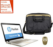 HP 17 Touch Gold Luxe Laptop AMD A10 w/ Mouse, Bag & MS Office 365 - E229784