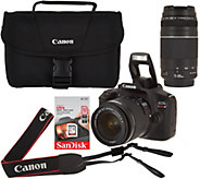 Canon Rebel T6 18MP DSLR Wi-Fi Camera w/18-55, 75-300mm Lens, Bag & SD Card - E230484