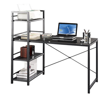 techni mobili computer desk with four tier shelf tower. Black Bedroom Furniture Sets. Home Design Ideas
