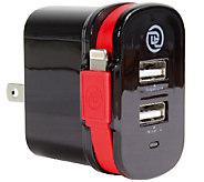 ChargeIt! Dual-Output Wall Charger with Lightning Cable - E283492