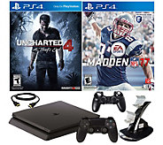 PlayStation 4 Slim 500GB Uncharted 4 Console w/Madden NFL 17 - E290395