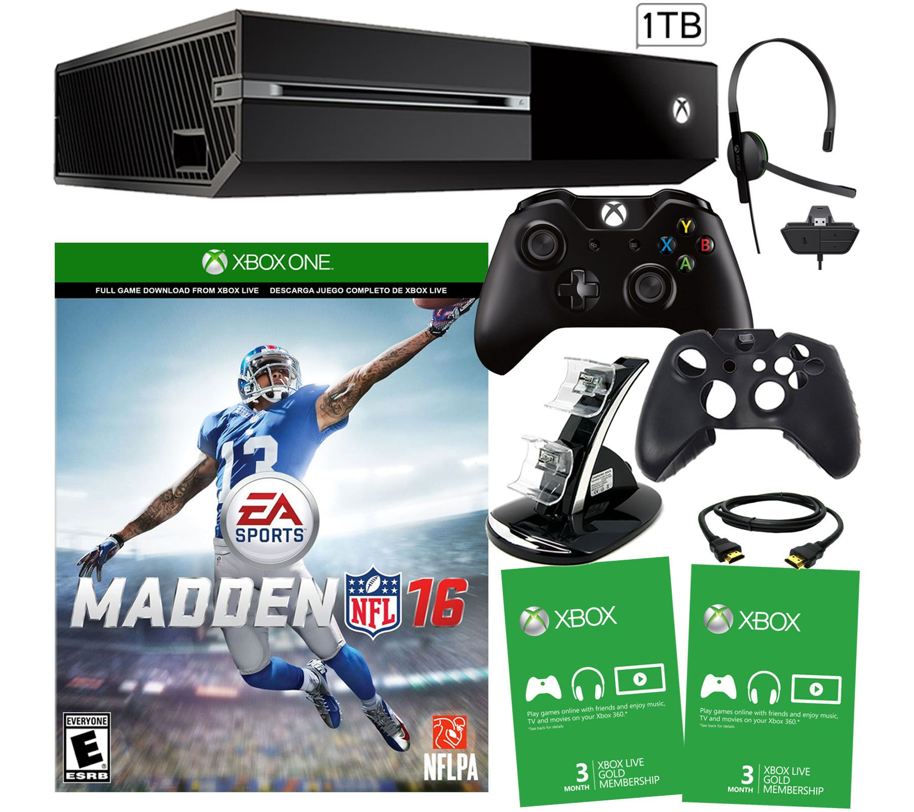 Xbox One 1TB Madden 16 Bundle with 6 Month Xbox Live Card - E228596