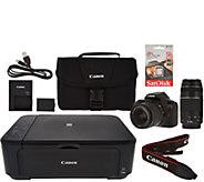 Canon Rebel T6 18MP DSLR Wi-Fi Camera w/18-55, 75-300mm Lens & MG3620 Printer - E229298
