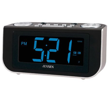 jensen am fm talking alarm clock radio with voice recognition. Black Bedroom Furniture Sets. Home Design Ideas