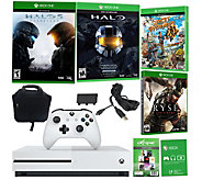 Xbox One S 500GB w/ Halo 5, 3 Additional Game s & Accessories - E289799