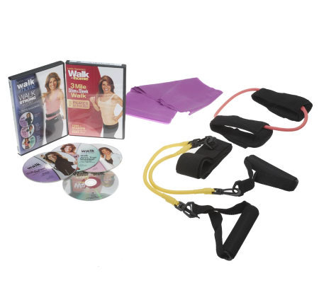 Leslie Sansone Walk Strong Deluxe 4 DVD Kit w/ Accessories