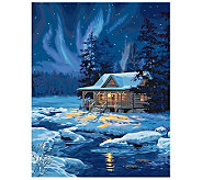 Paint-by-Number Kit - Moonlit Cabin - F180105