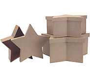 Papier Mache Star Boxes Set of 3 - 12, 10, 8 - F190606