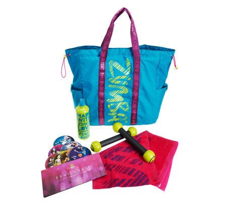 ZUMBA FITNESS Party on the Go Exhilarate Workout  Set w/ Tote Bag