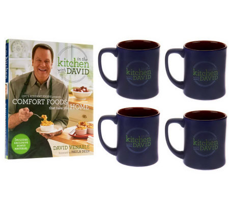 """In the Kitchen with David"" Cookbook and Set of 4 Ceramic Mugs"