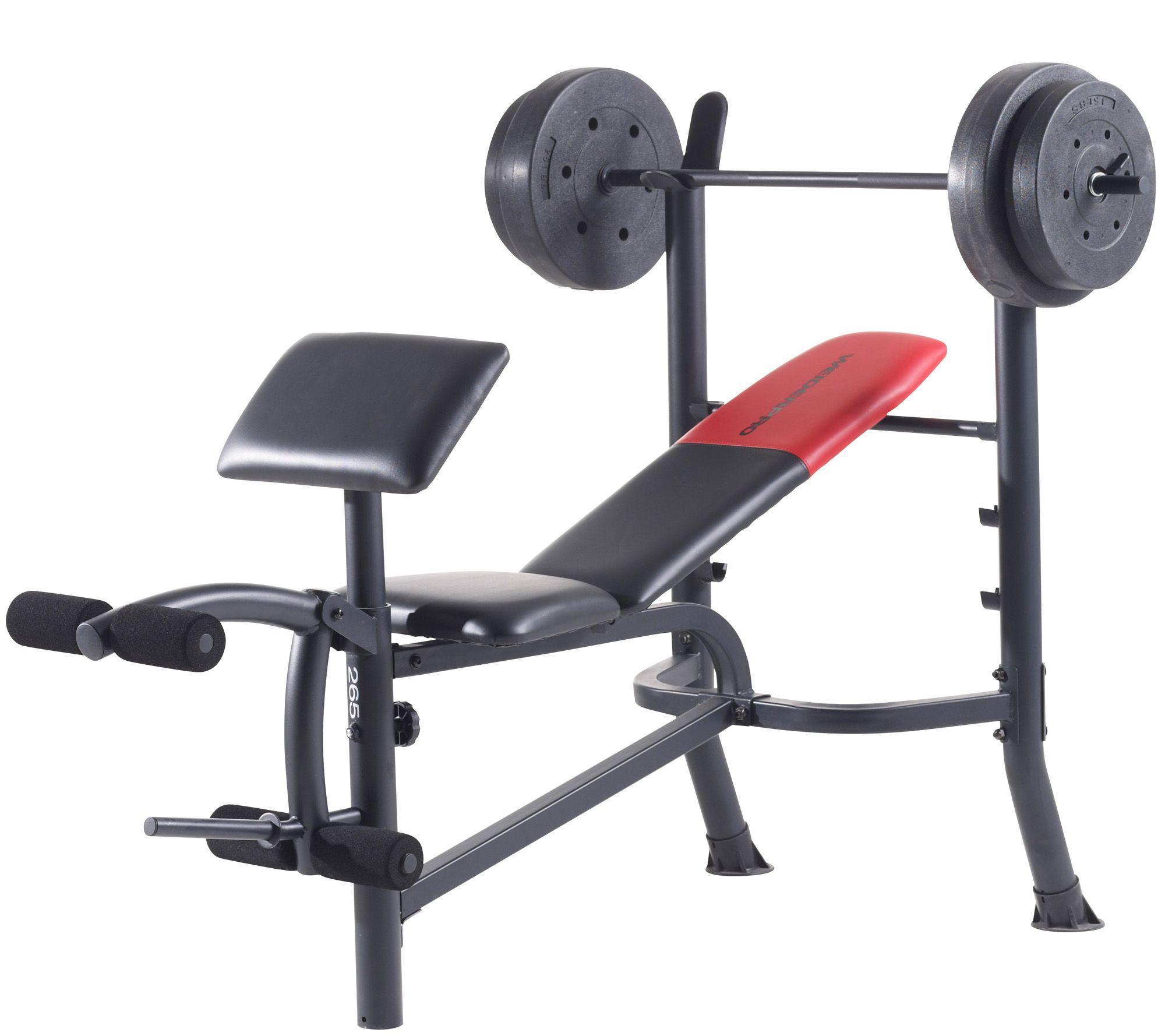 Weider Pro 265 Standard Bench Bar And Weightset Qvc Com