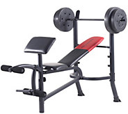 Weider Pro 265 Standard Bench, Bar, and WeightSet - F249334
