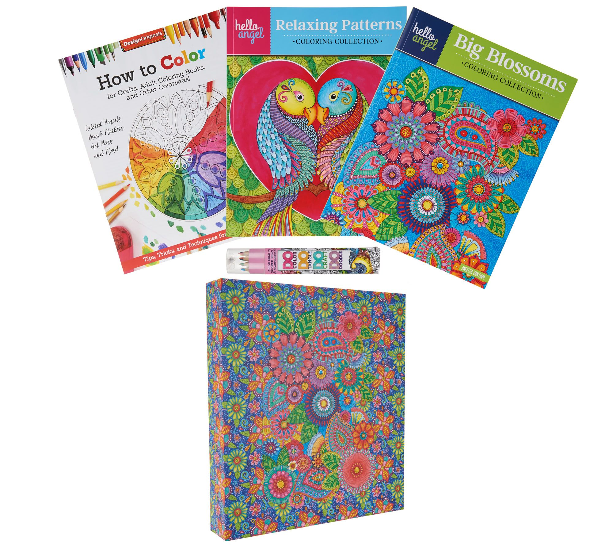Fox Chapel Set Of 2 Coloring Books 12 Pencils And Gift Box QVC