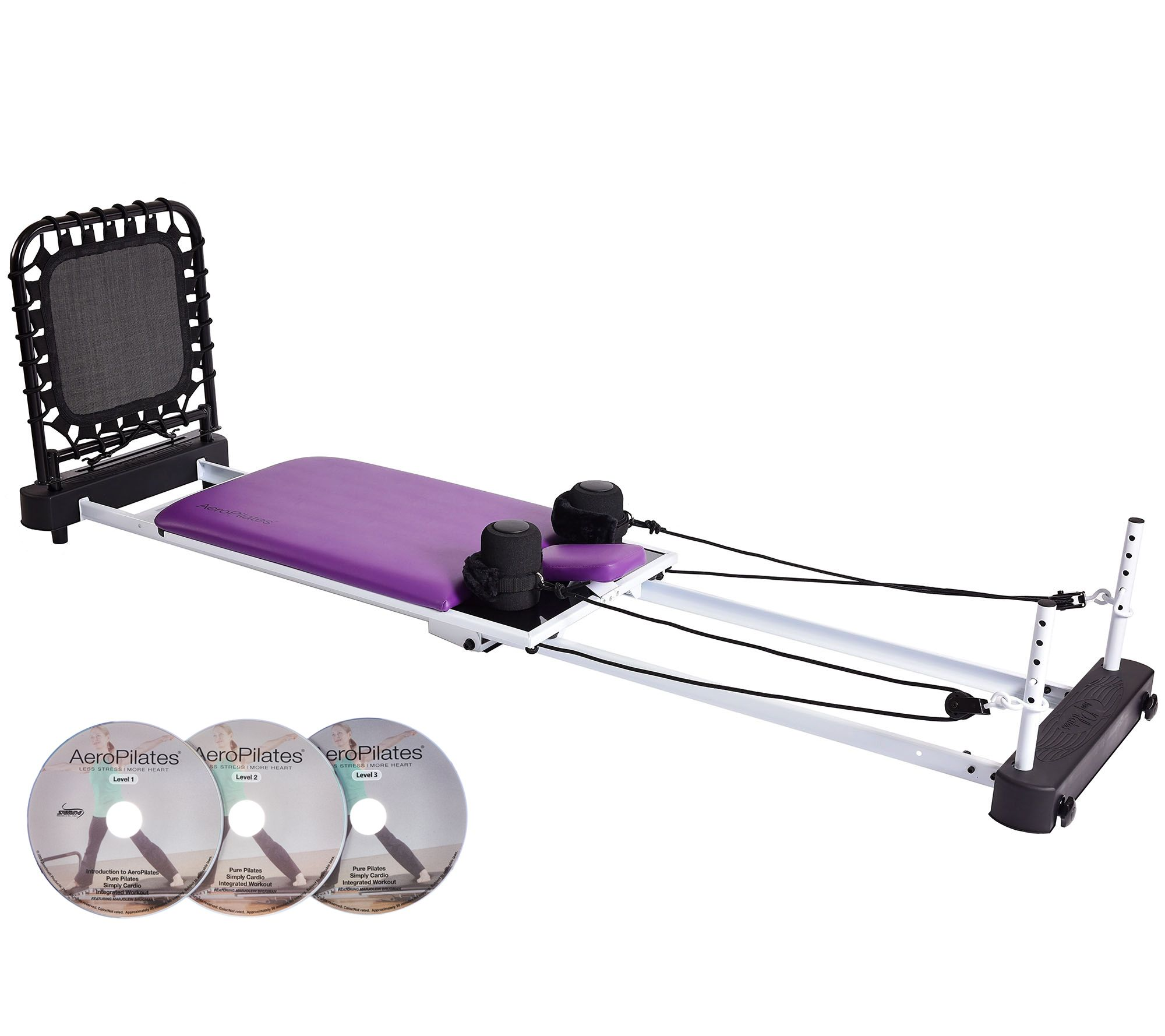 AeroPilates Reformer 5-Cord w/ Rebounder, Pulley Risers & 3 DVDs - F12051