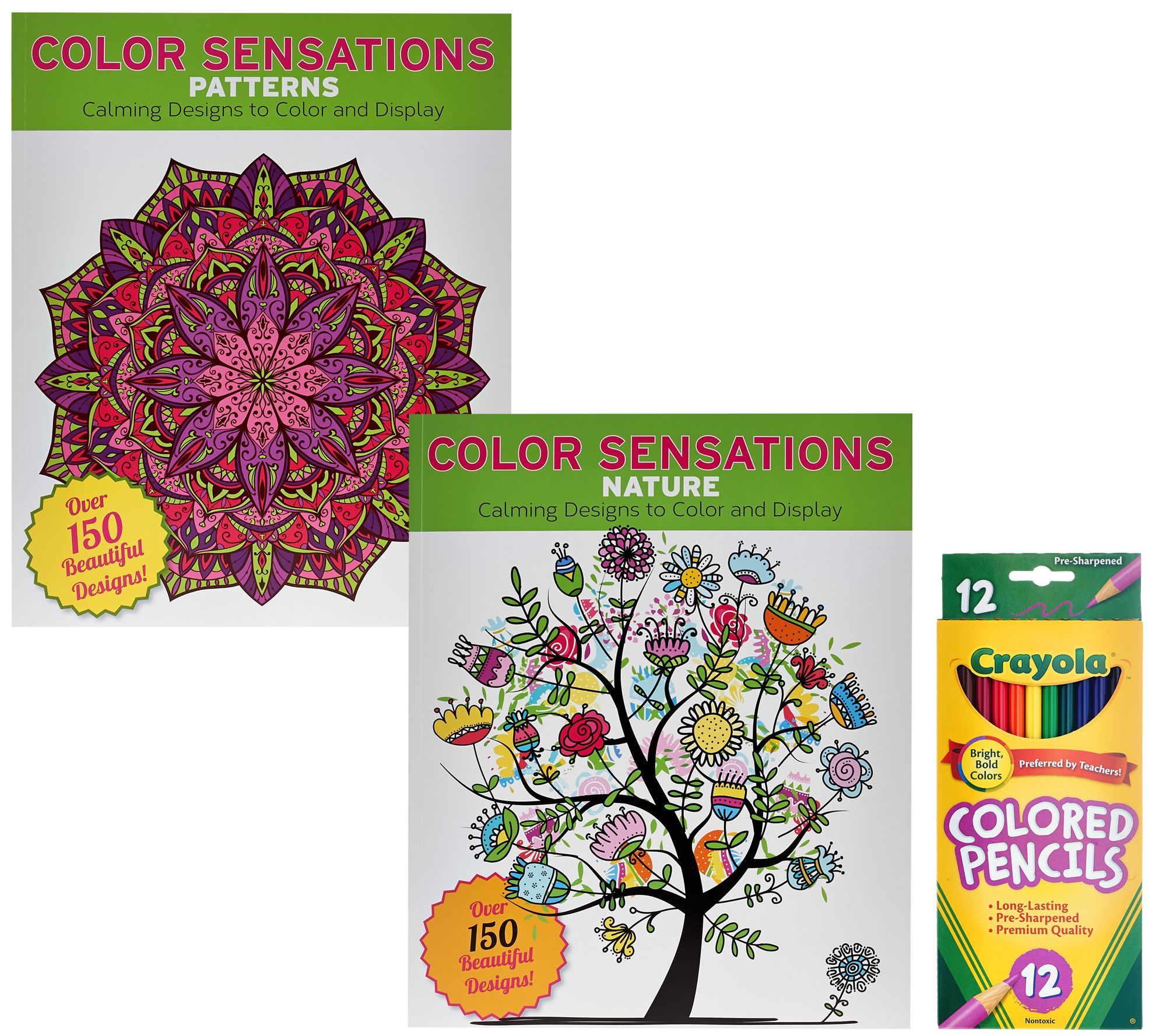 Color Sensation Set of 2 Coloring Books with Colored Pencils ...