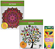 Color Sensation Set of 2 Coloring Books with Colored Pencils - F12156