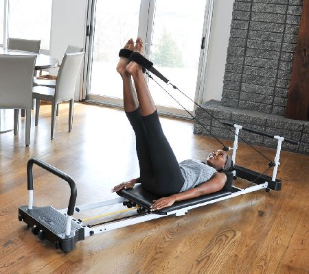 aeropilates reformer plus 5 cord w dvdu0027s pull up bar and rebounder page 1 u2014 qvccom - Pilates Reformer Machine
