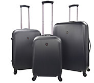 Travelers Club 3-Piece Round Shell Spinner Luggage Set - Ruby - F249370