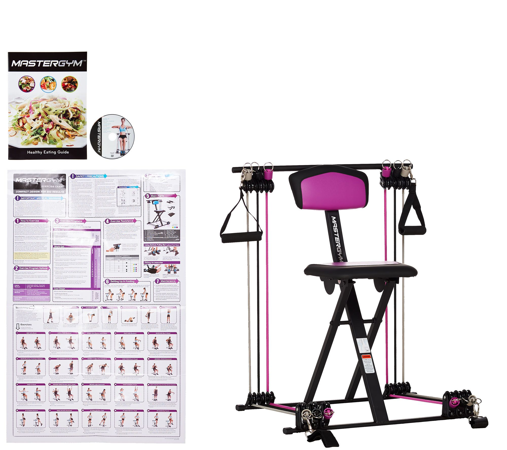 Quot as is master gym compact fitness chair with dvd wall