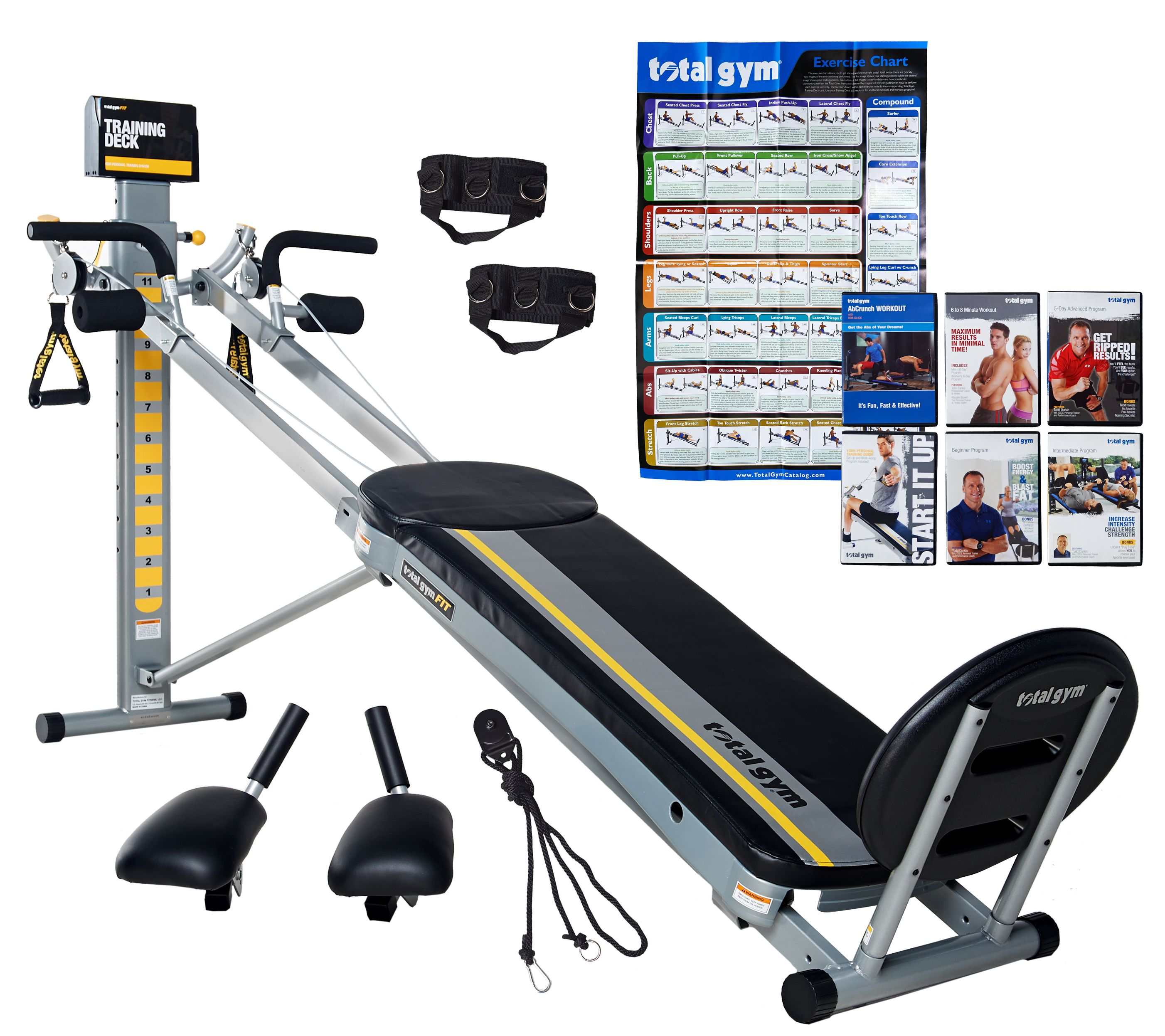 Total gym fit w dvd s attachments training deck wall