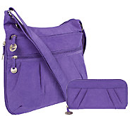 Travelon Crinkle Shoulder Bag with RFID Blocking Wallet - F11481