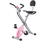 Sunny Health & Fitness Pink Folding Recumbent Bike - F248983