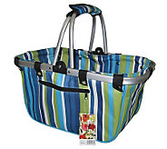 Janet Basket Blue Stripes Large Aluminum FrameBasket - F246788