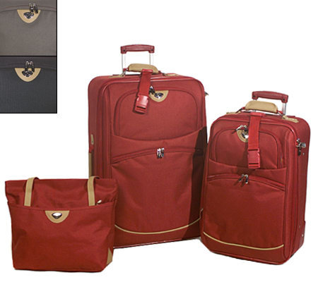 French West Indies 3pc Expandable Luggage Set