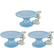Set of (3) Ceramic Pedestal Lifts with Bunnies by Valerie - H213800