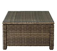 Crosley Bradenton Wicker Sectional Glass Top Coffee Table - H289500