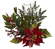 Poinsettia Candleabrum by Nearly Natural - H290600