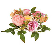 Peony Floral Centerpiece with Flameless Candle by Valerie - H199001