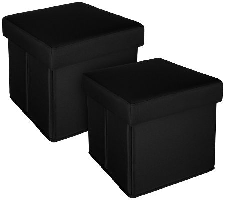 S/2 Solid Indoor/Outdoor Fold-up Ottomans by Valerie