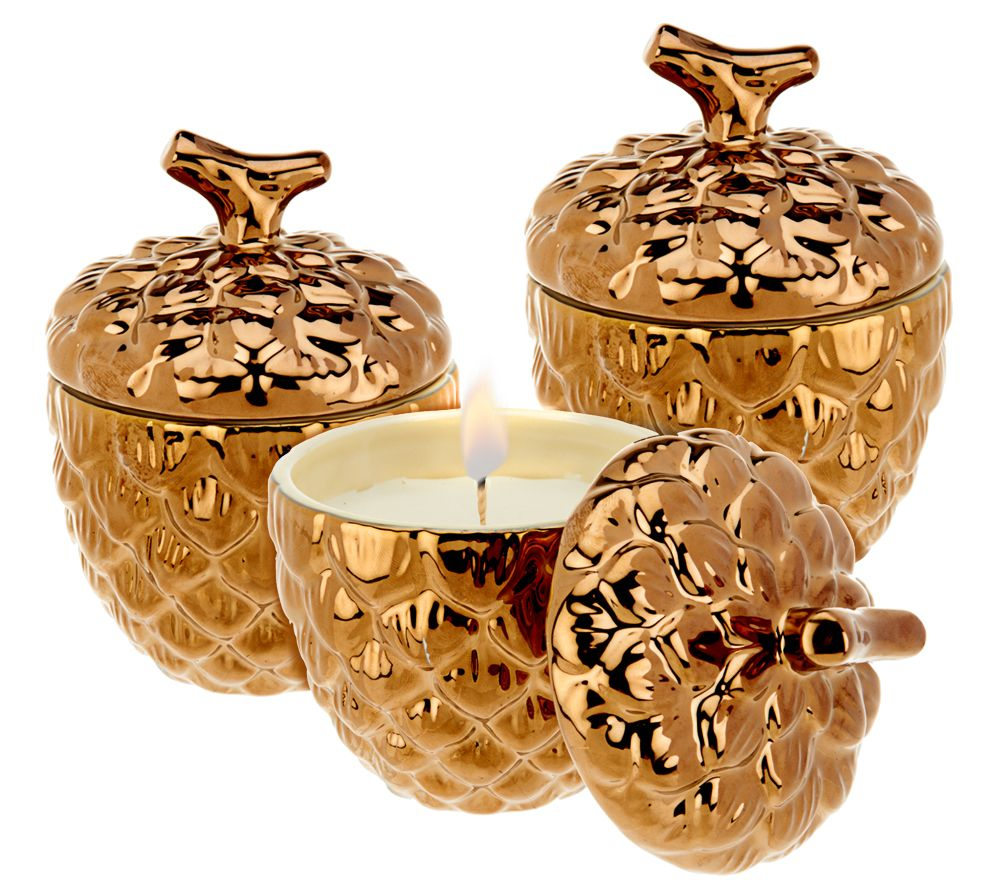 Pine Cone Candles Ed On Air Set Of 3 Rustic Pinecone Candles By Ellen Degeneres