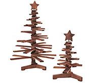 As Is ED on Air Set of 2 Wood Accordian Trees by Ellen DeGeneres - H207301