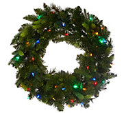 As Is Bethlehem Lights 24 Mix Greens Prelit Holiday Wreath - H210501
