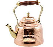Old Dutch Solid Copper Hammered Tea Kettle w/ Wooden Handle - H288101
