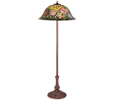 Tiffany style rosebush floor lamp page 1 qvccom for Tiffany floor lamp qvc