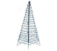 As Is Pre-Lit 5 Fold Flat Outdoor Christmas Tree by Lori - H204302