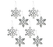 Set of 8 Glittered Metal Snowflake Ornaments - H206602