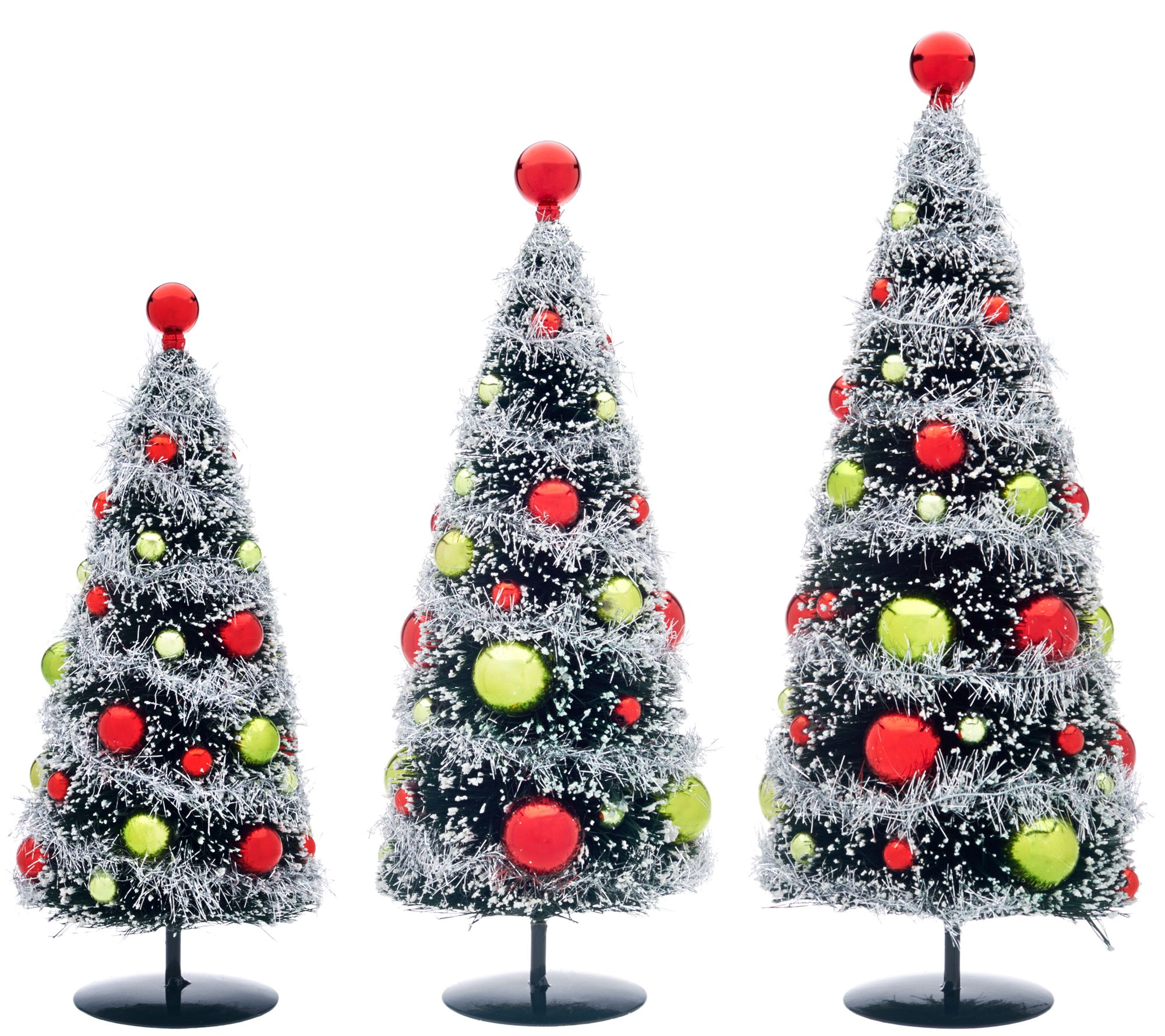 Set of 3 Bottlebrush Trees with Ornaments by Valerie - H208702