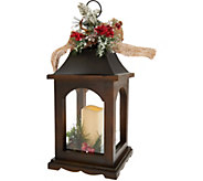 Plow & Hearth 17 Wooden Lantern with Flamess Candle & Burlap Bow - H212002