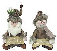 Set of 2 9 Santa and Snowman Sitters by Santas Workshop - H289002