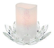 As Is Glass Lotus Flower with Flameless Candle by Valerie - H204403