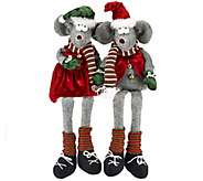 Set of 2 Sitting or Standing Plush Mouse Couple by Valerie - H205303