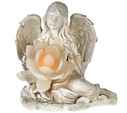 Sitting Angel w/ Illuminated Flower by Home Reflections - H206003