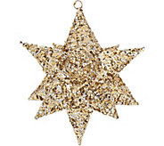 Set of 3 10 Glittered Decorative Stars w/Hangers by Valerie - H211503