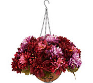 Bethlehem Lights Prelit Harvest Mum Hanging Basket with Timer - H212703