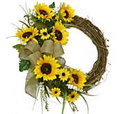 19 Sunflower Wreath with Burlap Bow by ValerieParr Hill - H288203