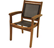 Outdoor Interiors Eucalyptus and Sling StackingArm Chair - H294203
